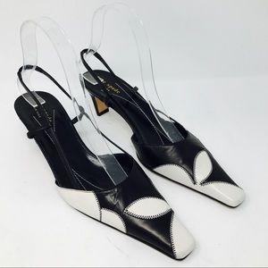 Kate Spade Black Floral Leather Slingback Heels